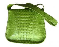 Lime crocodile handbag with Swarovski crystal